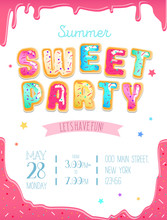 Party Cute Invitation Design. Sweet Donut Party Poster For Birthday Party, Kid's Zone Or Summer Camp. Vector Illustration.