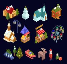 Christmas Market And City Isometric Set Isolated On Navy Blue Background. Vector Illustration