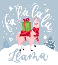 "Cute Llama Christmas Card With Lettering Inscription ""Fa La La La Llama"". New Year Greeting Card."