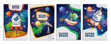 Set Of Colorful Space Cards. V...