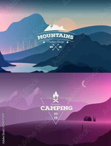 Polygonal landscape vector illustration. Modern design template for web-banner
