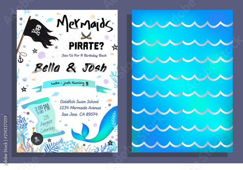 Photographie  Mermaid and pirate party invitation with holographic background, mermaid tail, pirate flag and doodles