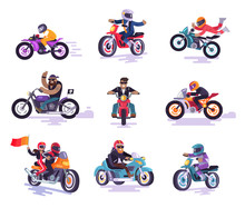 Bikers Icons Collection Color Vector Illustration