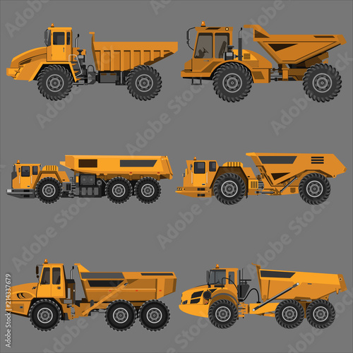 Photo powerful articulated dump truck