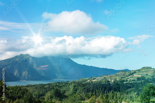 Staande foto Afrika Active Indonesian volcano Batur on the tropical island of Bali. View of great volcano Batur. Beautiful landscape.
