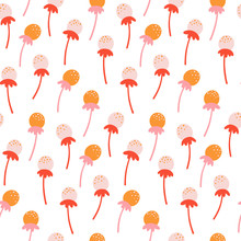 Cute Seamless Floral Pattern With Hand Drawn Dandelion Flowers. Autumn Design Template. Vector Wallpaper. Good For Print.