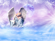 Angel Archangel Gabriel, Haniel, Ariel With Mystical Sky, Rays Of Light With Bird Dove Of Peace And Love