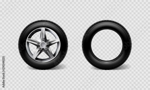 Fotografía  Stock vector illustration realistic car wheels set tyre bus, truck isolated on t