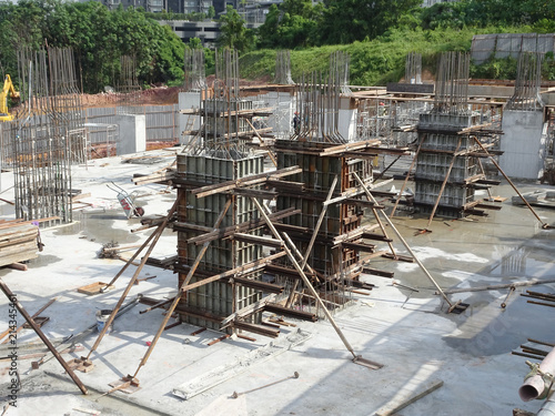 Metal form work for concrete column installed by