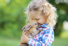 Girl With A Cute Little Rabbit...