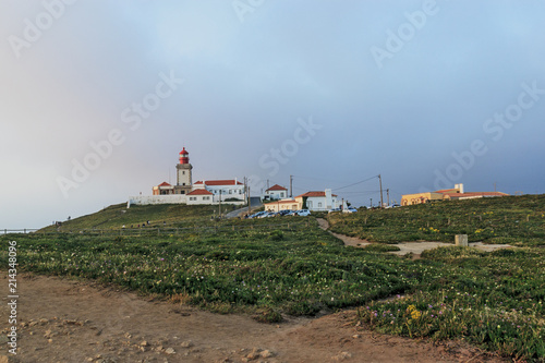 Foto auf AluDibond Panoramic view of the westernmost point in Europe. Cape Roca lighthouse. The edge of the land. Cabo da Roca, Portugal.
