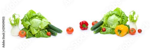 Fotobehang Verse groenten Panoramic view of a Green cabbage. Red tomatoes and cucumbers on a white background.