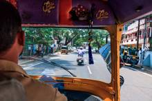 Kochi, India - April 18, 2017: Tuk-tuk On The Streets Of Kochi, India. View From Behind The Driver.