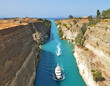 canvas print picture - Boats on the Corinth Canal  in Greece