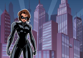 Naklejka Illustration of powerful superheroine posing on city background.