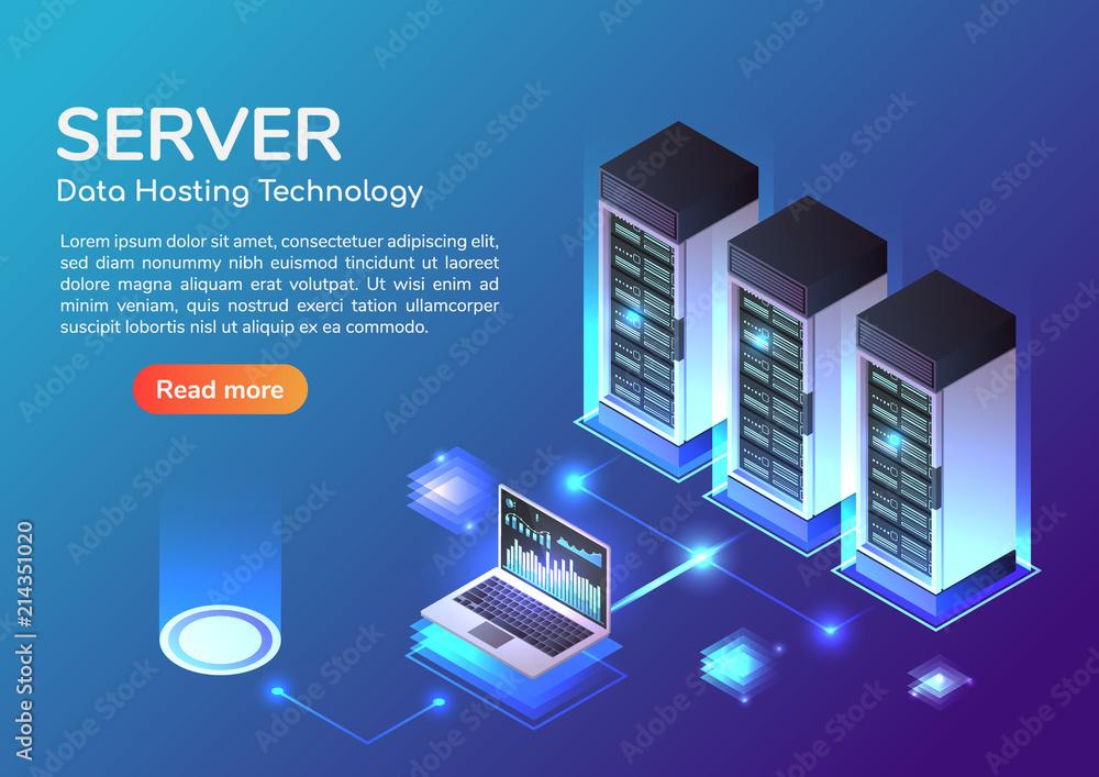 Fototapeta Isometric web banner Server room and hosting storage technology