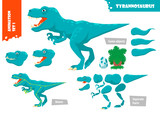 Fototapeta Dinusie - Cartoon Style Dinosaur Tyrannosaurus Character For Animation Set. Vector Illustration