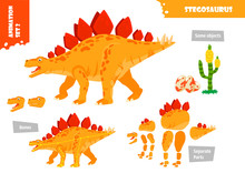 Cartoon Style Dinosaur Stegosa...
