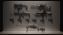 Black And Grey Firearms Display 3d Illustration