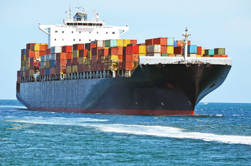 Container ship approaching Government Cut on its way to deliver cargo to the Port of Miami.