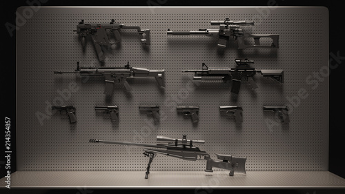 Cuadros en Lienzo Black and Grey Firearms Display 3d Illustration