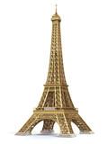 Fototapeta Wieża Eiffla - Eiffel Tower golden isolated on a white background.