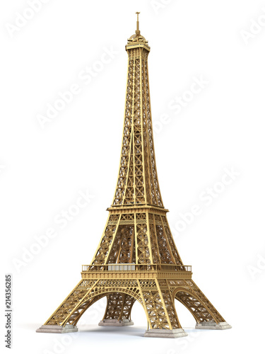 Eiffel Tower golden isolated on a white background. Wall mural