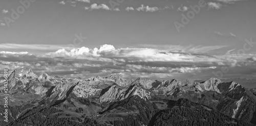 Foto auf Gartenposter Gebirge Sunset Lechquellengebirge mountains from Furkajoch, Austria