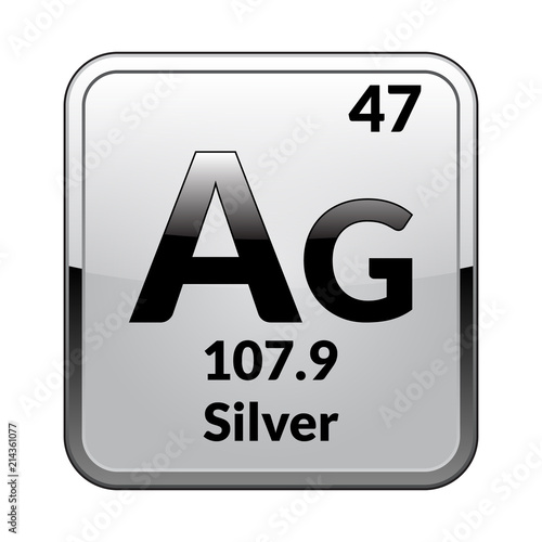 Fotografering The periodic table element Silver.Vector.