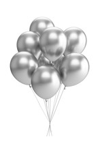 3D Rendering Silver Balloons I...
