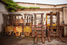 Many Old Electric Forklift Stackers