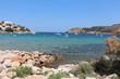 Rivage mer méditerranée avec plage et bateaux de plaisance Espagne Costa brava ville de l'Escala