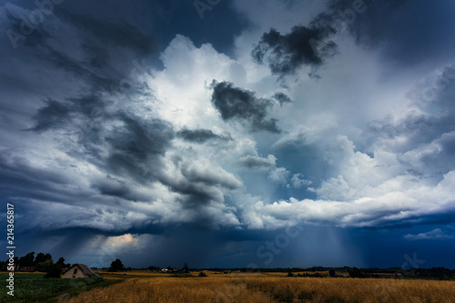 Aluminium Prints Heaven Image of storm cloud taken in Lithuania