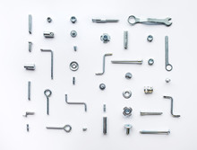 Collection Set Of House Repair Tools, Wrenchs, Screw, Bolts On White Background,flat Lay Pattern