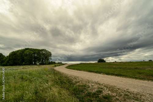 Foto op Canvas Beige simple country road in summer