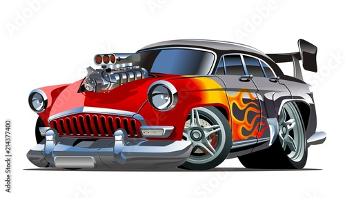 Foto op Canvas Cartoon cars Cartoon retro hot rod
