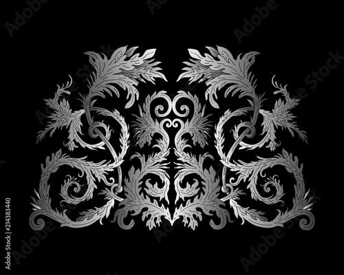 Foto op Plexiglas womenART Baroque style ornament design. Retro ornamental gradient silver metallic background. Vintage decorative pattern. EPS 10 vector illustration.