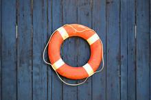 Old Orange And White Lifebuoy ...