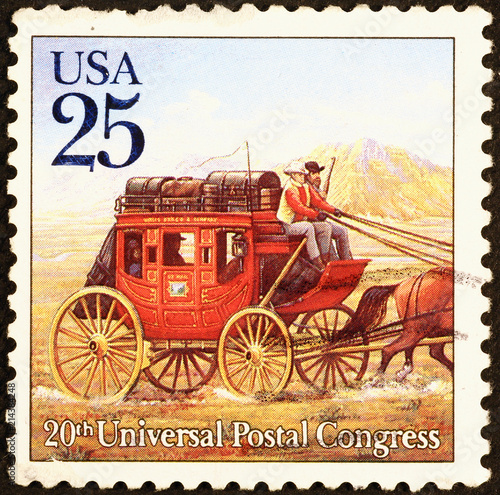 Fotografie, Tablou Old stagecoach on american postage stamp