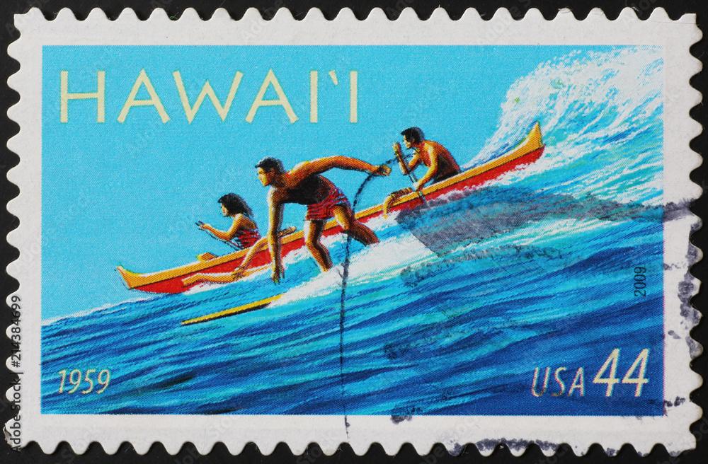 Fototapeta Stamp representing surfer & canoe in Hawaii islands