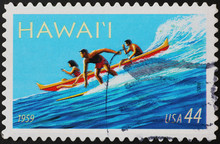 Stamp Representing Surfer & Canoe In Hawaii Islands