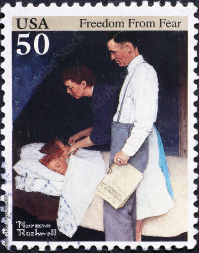 American family in painting by Norman Rockwell on stamp Wallpaper Mural