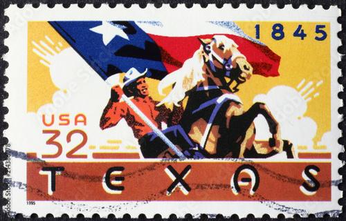Foto op Plexiglas Texas Cowboy with Flag of Texas on american stamp