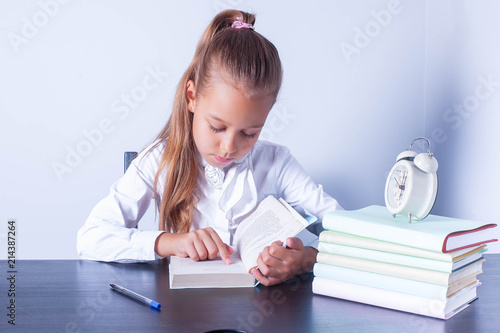 Cute Baby Doing Homework Reading A Book Students Learn To