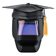 Welder Training And Qualification Concept. Welding Helmet With Graduation Cap. 3D Rendering