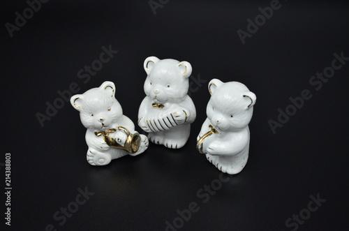 Fotografie, Obraz  Dekoration, drei kleine Porzellan - Bären