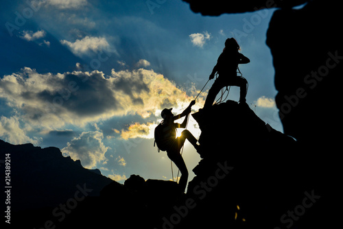 Photo Stands Mountaineering real combat athletes and achieve success