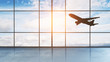 canvas print picture - take off aircraft behind airport window