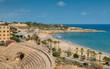 Panoramic view of the ancient roman amphitheater of Tarragona, Spain, next to the Mediterranean sea - UNESCO World Heritage Site