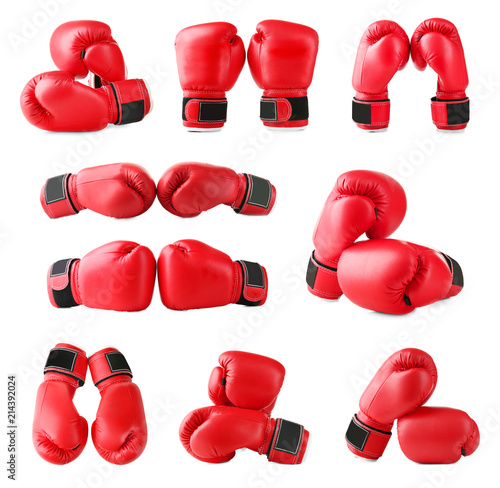 Set of boxing gloves on white background Tapéta, Fotótapéta